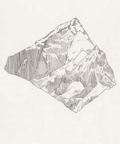 Mountain Peak - alluring artwork - pencil sketch-- its been pulled out and focused on- the vertical, straight lines give that sense of steepness and largeness of the mountain and separates the mountain and the snow is a very clever way- maggie Line Drawing, Painting & Drawing, Texture Drawing, Drawing Tips, Camping Rustique, Art Sketches, Art Drawings, Drawing Faces, Realistic Drawings