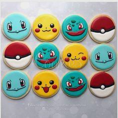 More Pokemon cookie orders. Fancy Cookies, Iced Cookies, Cute Cookies, Royal Icing Cookies, Sugar Cookies, Pokemon Cupcakes, Pokemon Birthday, Pokemon Party, Bolo Pikachu
