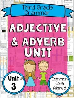 Teach all of the Common Core adjective and adverb standards with this large adjective and adverb unit! In this product, you'll find fun activities, graphic organizers, task cards, and practice worksheets. Adjectives Activities, Fun Activities, English Adjectives, Adverbs, Graphic Organizers, Task Cards, Third Grade, Fun Learning, Language Arts