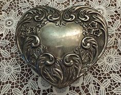 HEART Silver Glass Jewelry box/ Wedding/Engagement/ Valentines Day Gift /Vintage