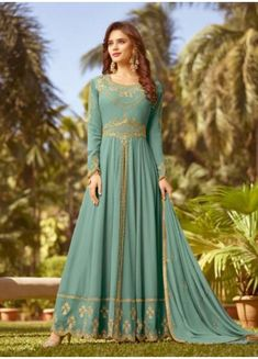 7d6313c97b Buy This Festival Wear Teal Georgette Heavy Embroidery Work Anarkali Style Online  Shopping. SuratWholesaleShop · Party wear Anarkali Suits