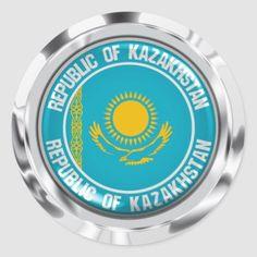 Kazakhstan Round Emblem Classic Round Sticker