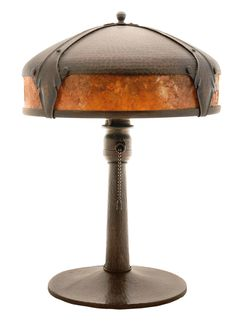 Brunk Auctions - Roycroft Arts and Crafts Hammered-Copper and Mica Table Lamp
