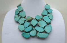 Turquoise Statement Necklace - Turquoise Bib Jewelry - Stone Statement Necklace