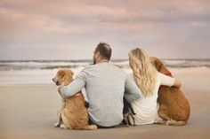 A couple's photography session with dogs photographed by Jacksonville engagement photographer Chelsea Whiteman Photography at Atlantic Beach, Florida. www.chelseawhitemanphotography.com