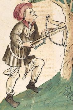 Konrad von Megenberg The Book of Nature— Hagenau - Werkstatt Diebold Lauber, um Medieval Crossbow, Medieval Weapons, 15th Century Clothing, High Renaissance, Traditional Archery, Western World, Medieval Clothing, Hunting Clothes, Artwork