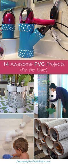 14 idées pour utiliser les tuyaux en PVC pour organiser la maison 14 Awesome PVC Projects for the Home. Lots of great Ideas and Tutorials! #DIY #Home