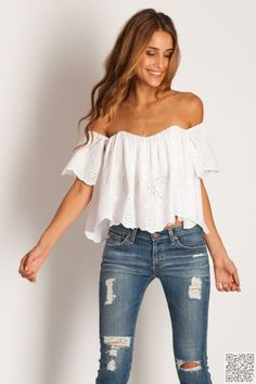 11. Off the #Shoulder Top - The Only Summer #Outfit #Inspiration You'll Need ... → #Fashion #Skirt