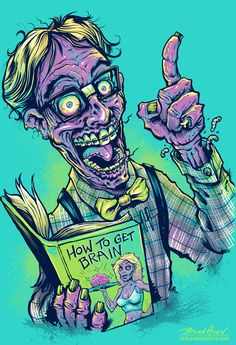 Nerd Zombie T-Shirt Illustration on Behance Zombie Kunst, Arte Zombie, Zombie Art, Funny Zombie, Zombie Illustration, Digital Illustration, Arte Horror, Horror Art, Zombie Drawings