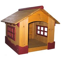 Make your pet and yourself happy with this classic wood doghouse. This weatherproof doghouse features open windows for maximum visibility and to help your pet sleep better. It can also be restained, and it is a stylish addition to your yard.