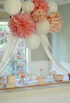cover chandelier with pompoms, paper lanterns, and streamers for baby shower or wedding shower Bridal Shower Decorations, Wedding Decorations, Wedding Ideas, Hanging Decorations, Hanging Centerpiece, Table Decorations, Paper Lantern Decorations, Wedding Table, Shower Centerpieces
