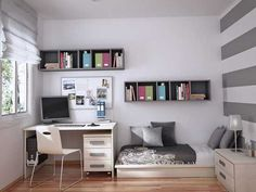 Small Bedroom Space. Stripped wall. Love it