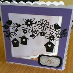 Tattered lace birdhouse heights die on acetate