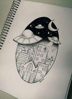 art, space, and draw Bild Space Drawings, Dark Art Drawings, Art Drawings Sketches Simple, Pencil Art Drawings, Tattoo Sketches, Easy Doodle Art, Doodle Art Drawing, Simple Canvas Paintings, Mini Canvas Art