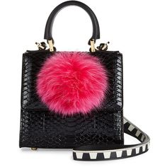 Les Petits Joueurs Micro Alex Snakeskin Bunny Bag with Fur Pom featuring polyvore women's fashion bags handbags shoulder bags handbags satchels satchel handbags satchel purses satchel bag top handle satchel handbags fur purse