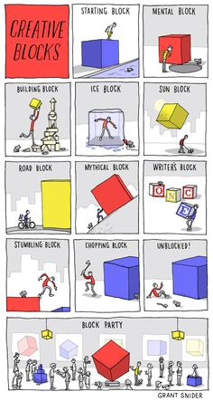 """Some ideas you might use to draw """"blocks"""": from :INCIDENTAL COMICS: Creative Blocks"""