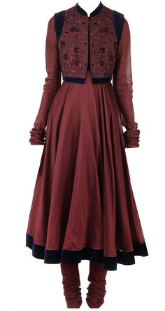 Burgandy anarkali with embroidered waistcoat available only at Pernia's Pop-Up Shop.