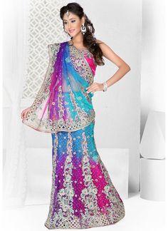 Cbazaar Magnificent Multicolored Lehenga Saree