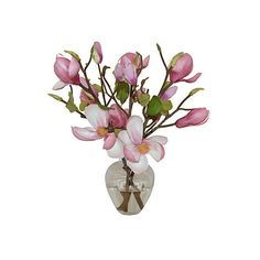 "One Kings Lane 15"" Magnolias in Garden Bouquet - Faux Arrangements ($99) ❤ liked on Polyvore featuring home, home decor, floral decor, flowers, decor, plants, filler, decorative accessories, floral home decor and pink home decor"