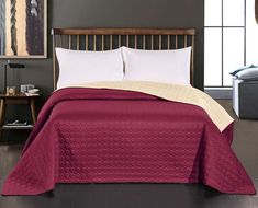 Bloomsbury Market This double-sided quilt is the perfect piece to quickly and easily freshen up your interior. Size: x Bordeaux, Bed Spreads, Burgundy, Comforters, Quilts, Blanket, Furniture, Design, Home Decor