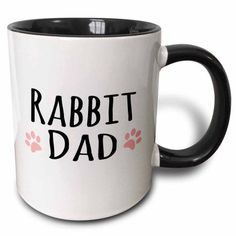 3dRose Rabbit Dad - for bunny rabbit lovers and pet owners - with pink paw prints, Two Tone Black Mug, 11oz