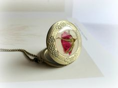 REBAJA- Rosa Roja - Colgante collar guardapelo resina flor real prensada seca preservada especimen botanico san valentín idea regalo ella