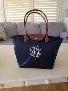 Navy Personalized Bag Large Tote Nylon fold up by nnichols