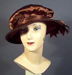 1900-1919 Brown Satin Ribbon Hat by Hess