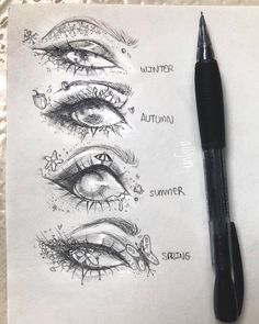 Which is Your Favourite ? - Heres another set of eyes the seasons! (I was inspired to do a theme by ) Im not super proud of these but I hope you guys enjoy them I had to edit some things out so sorry about the blurry starfish :( - - - # Cool Art Drawings, Pencil Art Drawings, Art Drawings Sketches, Aesthetic Drawing, Aesthetic Art, Aesthetic Painting, Eye Sketch, Arte Sketchbook, Hippie Art