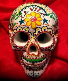 Large Life Size Day of the Dead Decorative Sugar Skull, Dia De Los Muertos OOAK!
