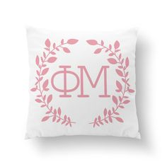 "Phi Mu Wreath Pillow - 10"" or 16"" ΦΜ / Sorority Pillow, Big Little Gift, Sorority Life, Dorm Decor by Sororitee on Etsy https://www.etsy.com/listing/204142125/phi-mu-wreath-pillow-10-or-16quot-phm"