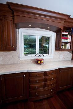 Cherry Wood Cabinets - Bearing in mind cherry wood cabinets in the pantry? Pantries with cherry wood cabinets are faultless for. Cherry Wood Kitchen Cabinets, Cherry Wood Kitchens, Espresso Kitchen Cabinets, Kitchen Countertops, Wall Cabinets, Kitchen Cabinetry, Kitchen Room Design, Kitchen Cabinet Design, Stacked Stone Backsplash