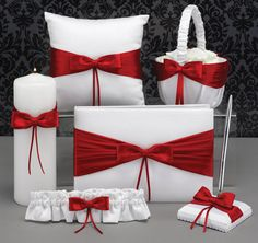 Lasting Radiance Red and White Wedding Collection - Flowergirl Basket, Ring Bearer Pillow, Guest Book and Pen Set, Unity Candle, and Garter