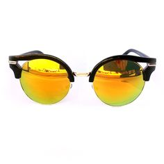 Retro Half Horn Rimmed Mirror Lens Sunglasses (Bronze)
