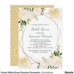 Cream White Roses Greenery Geometric Bridal Shower Card