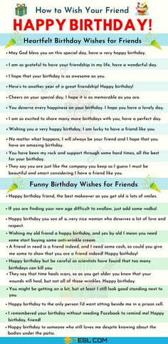 List of birthday wishes for your friends