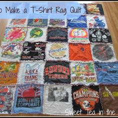 sew t-shirt How to Make a T-shirt Rag Quilt (the non-quilter's quilt) - Sweet Tea in the South - How to make a T-shirt rag quilt (the non-quilter's quilt!)--tutorial by Sweet Tea in the South Quilting Projects, Sewing Projects, Quilting Ideas, Sewing Tips, Diy Projects, Sewing Crafts, Art Quilting, Diy Crafts, Quilting Designs