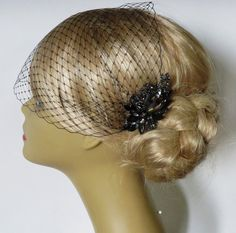 Birdcage Veil  and a Bridal Hair Comb 2 Items by IreneJewelry, $64.00