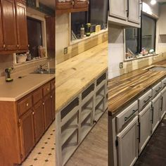 before & after countertops! DIY! Cheap! This is 2 x 4 wood from lowes... that we stained to look exotic! Like... $150 wood counter top y'all. Full tutorial to come on my site! diyswoon.com  Or email me for questions about it anytime! diyswoon@gmail.com: