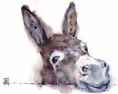 Clown Paintings, Wildlife Paintings, Animal Paintings, Happy Animals, Cute Animals, Wild Animals, Cartoon Drawings, Animal Drawings, Donkey Drawing