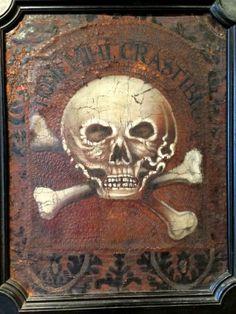 objet de curiosité shop | Objets de Curiosité - Panneau en cuir de cordoue avec un memento mori ...