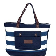 Butlers Beach Bag Blue and White Stripes