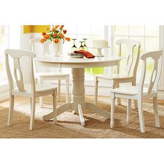 Better Homes and Gardens 5-Piece Pedestal White Dining Set - Walmart.com :: as part of breakfast nook