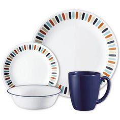 Corell 1127445 LIV Livingware Dinnerware Set - Payden, 16 Piece (Pack of As Shown Square Dinnerware Set, Dinnerware Sets, China Dinnerware, Appetizer Plates, Dinner Plates, Corelle Plates, Tableware, Corelle Sets, Corelle Dishes