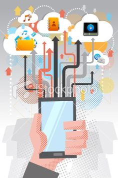 File transfer by cloud computing Royalty Free Stock Vector Art Illustration