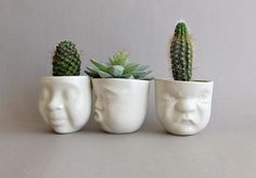 "White porcelain succulent planter set of 3 - ceramic head sculpture pots for indoor plants by SCULPTUREinDESIGN. Looking for a beautiful ""home"" for your new little succulents? You found it! These cute and whimsy porcelain planters are perfect for shop displays, parties decoration, as well for your home or office interior decorating with succulents, herbs, or any other small house plants. Great addition to a modern garden, and a wonderful gift for your family or your lovely friend for any..."
