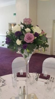 Martini vase table decoration for a wedding at the Grange this weekend by kari Tall Wedding Centerpieces, Wedding Table Flowers, Wedding Table Centerpieces, Flower Centerpieces, Flower Decorations, Floral Wedding, Wedding Decorations, Mauve Wedding, Centrepieces