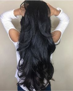 Natural Color Peruvian Virgin Hair Body Wave 3 Bundles With 360 Lace Remy Human Hair Extensions Long Dark Hair, Black Curly Hair, Thick Hair, Beautiful Long Hair, Gorgeous Hair, Beautiful Body, Remy Human Hair, Human Hair Extensions, Black Hair Extensions
