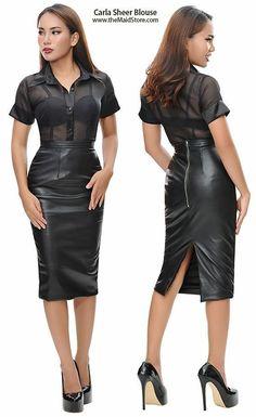 Long Leather Skirt, Black Leather Skirts, Leather Dresses, Hobble Skirt, Party Mode, Leder Outfits, Satin Blouses, Sexy Skirt, Sheer Blouse