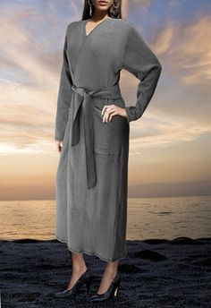 Zimmerli Women's Cocoon Swiss Cotton Fleece Luxury Loungewear and Warmups-Belted Wrap Robe